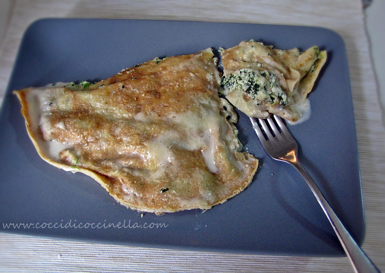 Ricetta Omelette Ricotta E Spinaci.Ricetta Crepes Con Ricotta E Spinaci Cocci Di Coccinella